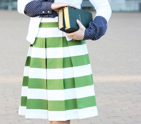 green+stripes+skirt