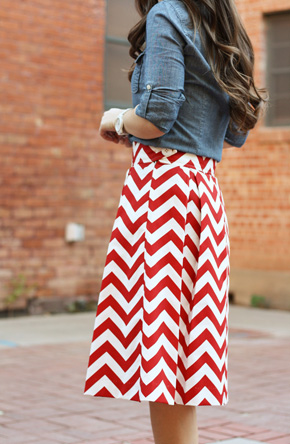 red+chevron+skirt