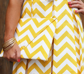 yellow+chevron+skirt+clutch