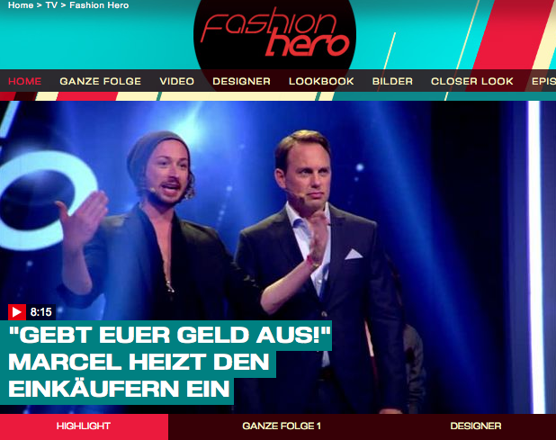 Screenshot von prosieben.at/tv/fashion-hero