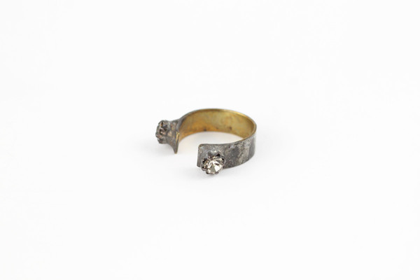brass crystal ring