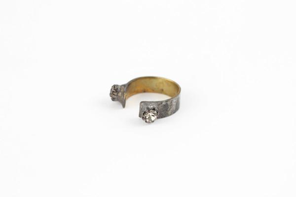 brass crystal ring